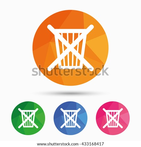Do not throw in trash. Recycle bin sign icon. Triangular low poly button with flat icon. Vector - stock vector