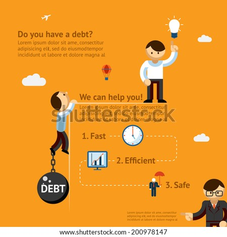 Do you have debt. We can help. Poster concept - stock vector