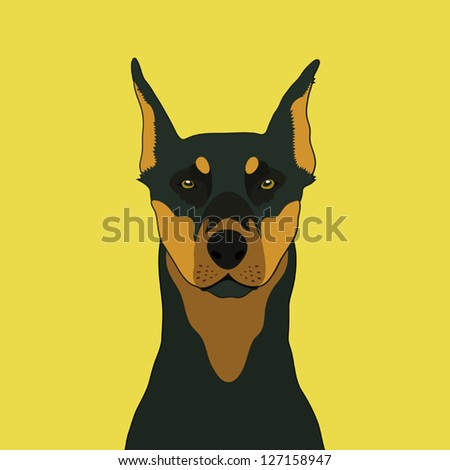 Doberman, The buddy dog - stock vector