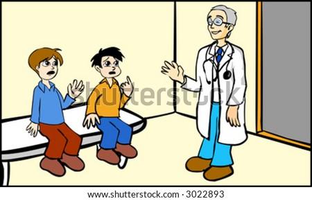 Doctor and children - stock vector