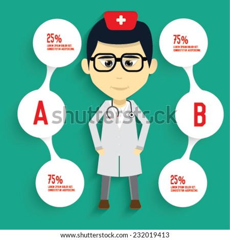 Doctor and info graphic design,clean vector - stock vector
