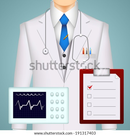 Doctor and medical charts and scans background with an electrocardiogram tracing  a MRI brain scan and a clipboard with a checklist in front of the torso of a doctor wearing a stethoscope and lab coat - stock vector