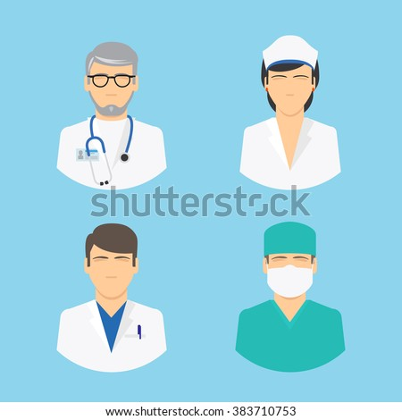 Doctor and nurse icons. Medical staff colorful flat avatars on light blue background. Vector illustration - stock vector