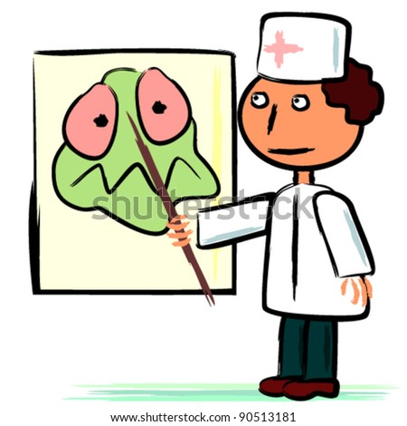 Doctor and poster with germ - stock vector