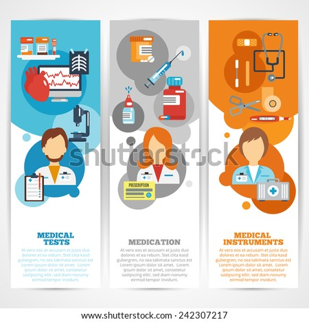 Doctor banner vertical set with medical tests instruments medication elements isolated vector illustration - stock vector