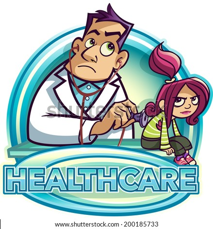 Doctor checking girl patient's breathing - stock vector