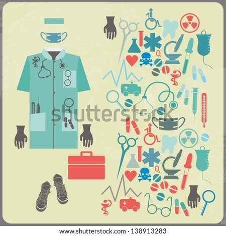 Doctor elements set - stock vector