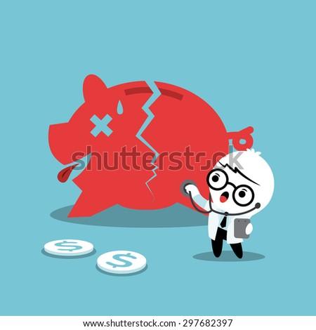 doctor examining a broken piggy bank financial concept illustration - stock vector