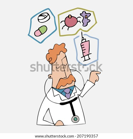 Doctor explains for medicine and disease - stock vector