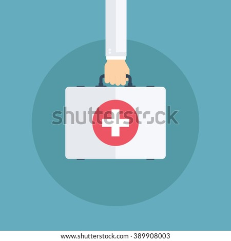 Doctor hand and first aid kit. Medical bag. Healthcare and diagnostics. Vector illustration.  - stock vector