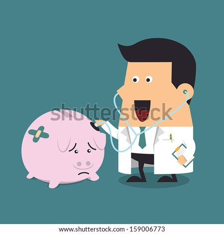 Doctor holding stethoscope to pink piggy bank, Business concept - stock vector