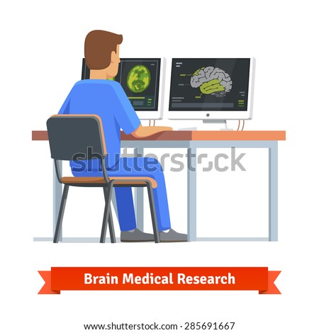 Doctor looking at results of MRI brain scan on a computer screens. Medical research and diagnosis. Flat vector illustration. - stock vector