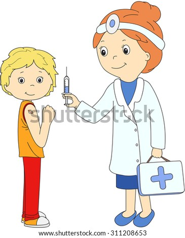 Doctor makes vaccination to the patient. Vector illustration - stock vector