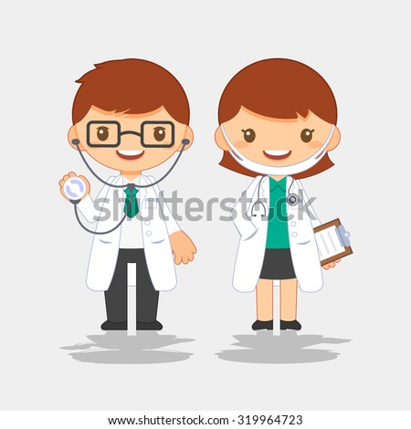 Doctor, man and woman - stock vector