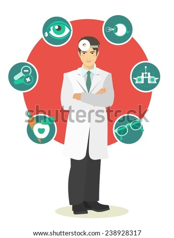 Doctor man in full growth on a background of a circle with icons ophthalmologist concept - stock vector