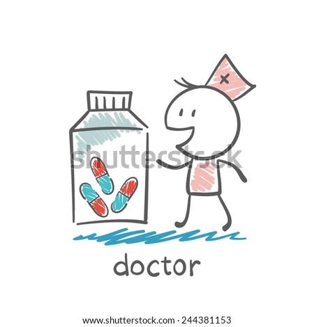 Doctor offering pills in a bank illustration - stock vector