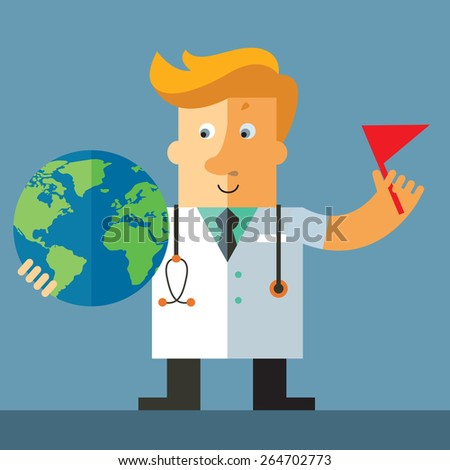 Doctor pointing at and holding a globe with a marked spot - stock vector
