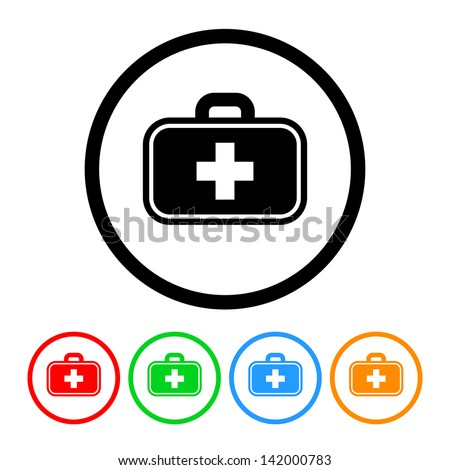Doctor's Bag Health & Medical Icon in Vector Format with Four Color Variations - stock vector