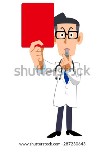 Doctor showing a red card - stock vector