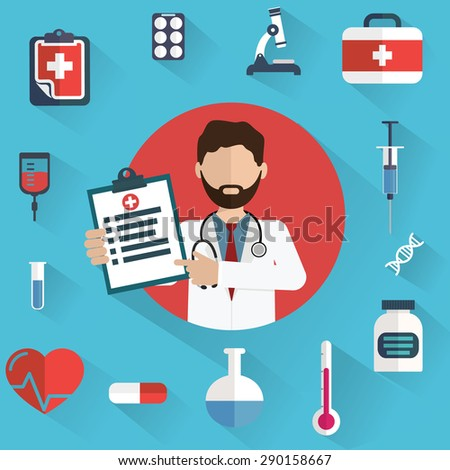 Doctor showing diagnoses with medical icons in a circle. - stock vector