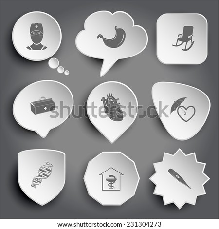 doctor, stomach, armchair, medical suitcase, heart, protection love, dna, pharmacy, thermometer. White vector buttons on gray. - stock vector