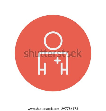 Doctor thin line icon Medical symbol thin line icon for web and mobile minimalistic flat design. Vector white icon inside the red circle. - stock vector