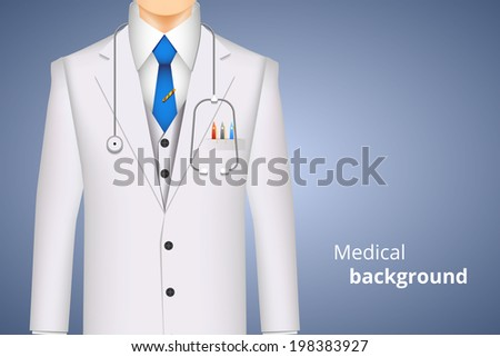 doctor white coat, medical background with space for text vector illustration - stock vector