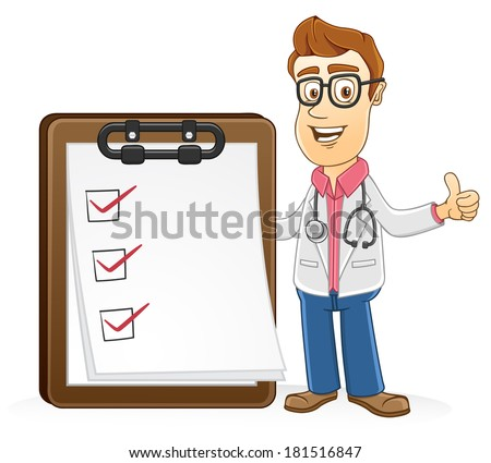 Doctor with checking list paper - stock vector