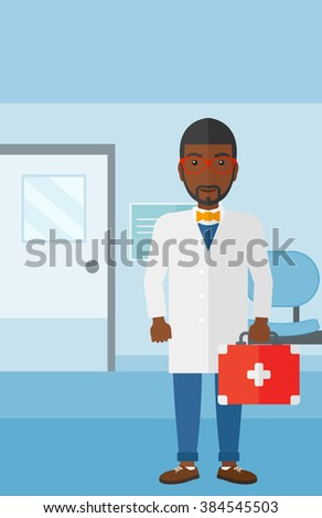 Doctor with first aid box. - stock vector