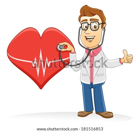 Doctor with heart symbol  - stock vector