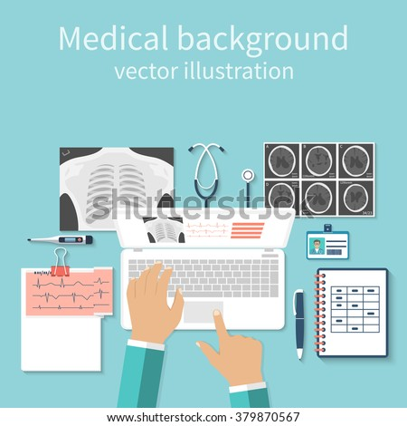 Doctor with laptop his desk studying documents of diagnostic research. Workplace doctor at table. Top view of the workplace doctor, medical equipment. Flat design vector. Medical concept. Background - stock vector