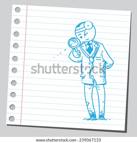 Doctor with magnifying glass - stock vector