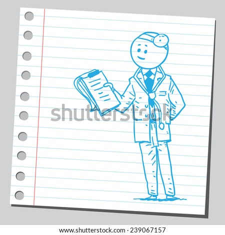 Doctor with medical chart clipboard - stock vector