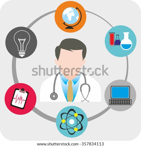Doctor with Medical vector icons - stock vector