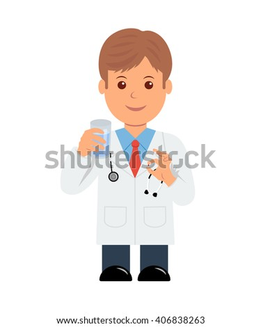 Doctor with pill and glass of water in hand. Isolated character male doctor giving a pill - stock vector