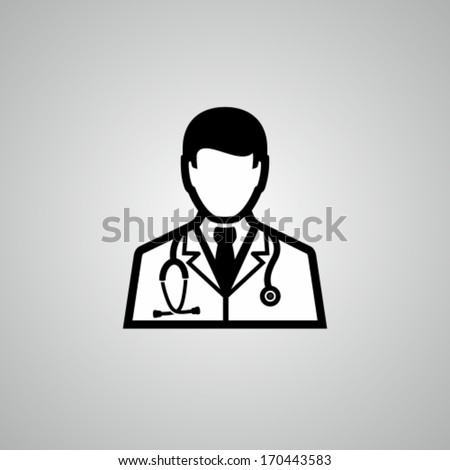 Doctor with stethoscope around his neck - stock vector