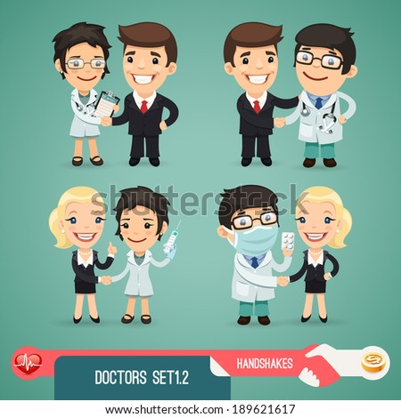 Doctors Cartoon Characters Set1.2 In the EPS file, each element is grouped separately. - stock vector
