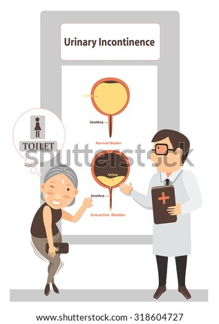 Doctors give patients see diagram urinary incontinence illustration vector. - stock vector