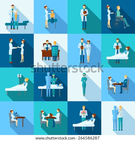 Doctors occupation professional health care flat icons set isolated vector illustration - stock vector