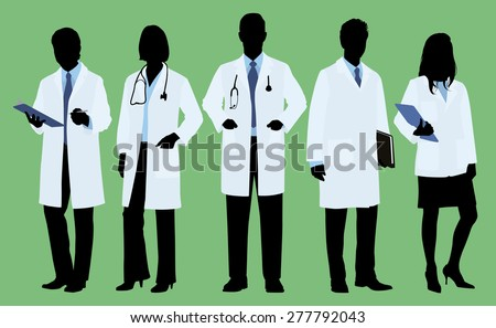 Doctors / Physicians in Silhouette - stock vector