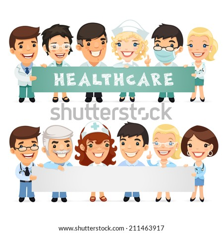 Doctors Presenting Empty Horizontal Banner. Isolated on White Bacground. - stock vector
