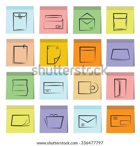 document and letter icons in stick note paper - stock vector