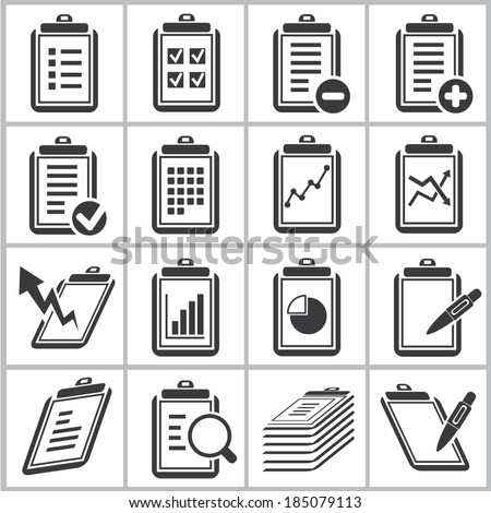 document and report icons set - stock vector