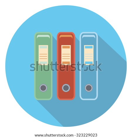 document box flat icon in circle - stock vector