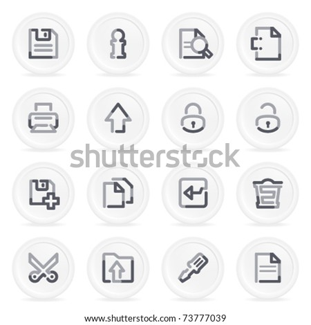 Document contour icons on gray buttons, set 1. - stock vector