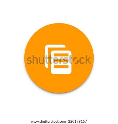 Document copy flat icon on colorful floating ui action button. - stock vector