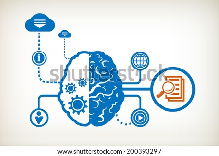 Document file and abstract human brain, the concept of the information movement - stock vector
