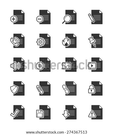 Document & File icon on White Background Vector Illustration - stock vector