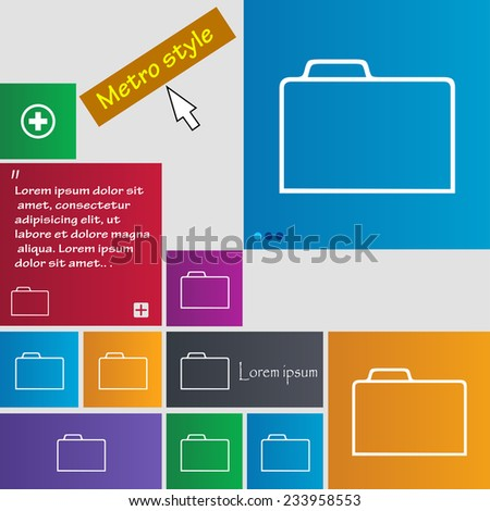 Document folder sign. Accounting binder symbol. Set of coloured buttons. Vector illustration - stock vector