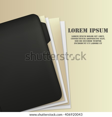 Document folder with paper and documents. File.  - stock vector